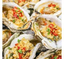 Garlic steamed oysters with fans